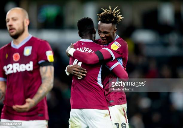 Tammy Abraham of Aston Villa at the end of the Sky Bet Championship match between Derby County and Aston Villa at Pride Park Stadium on November 10...