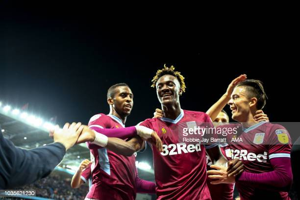 Tammy Abraham of Aston Villa celebrates after scoring a goal to make it 10 during the Sky Bet Championship match at Villa Park on September 18 2018...