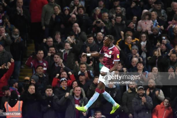 Tammy Abraham of Aston Villa celebrates scoring his third goal to make it 33 during the Sky Bet Championship match between Aston Villa and Nottingham...