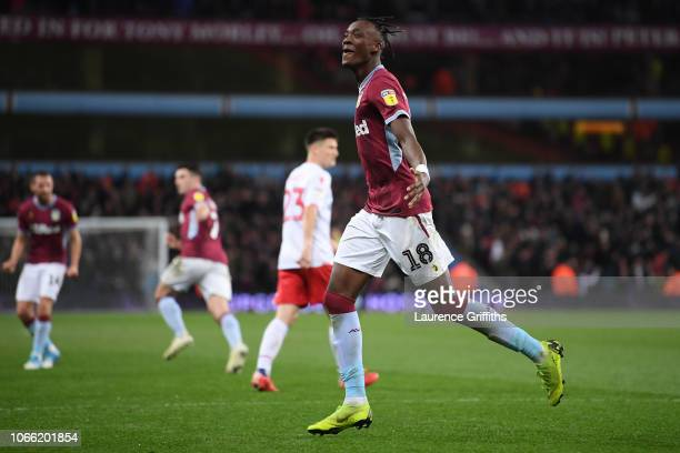 Tammy Abraham of Aston Villa celebrates scoring to make it 44 during the Sky Bet Championship match between Aston Villa and Nottingham Forest at...