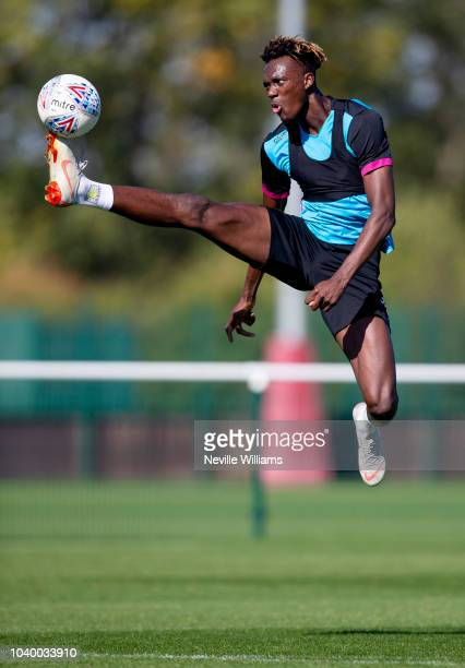 Tammy Abraham of Aston Villa in action during a training session at the club's training ground at Bodymoor Heath on September 25 2018 in Birmingham...