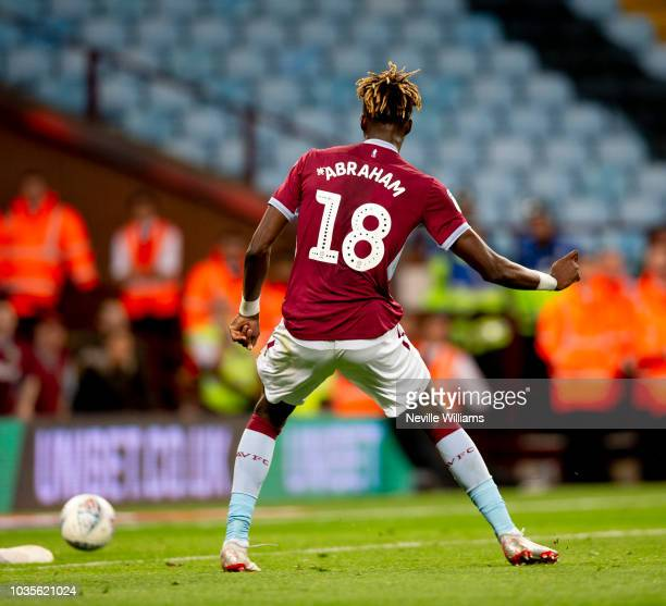 Tammy Abraham of Aston Villa scores for Aston Villa during the Sky Bet Championship match between Aston Villa and Rotherham United at Villa Park on...