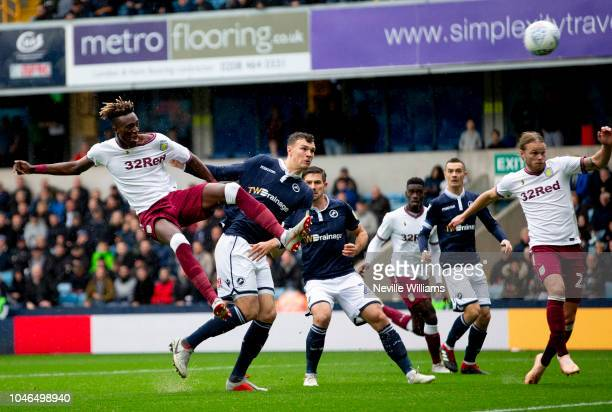 Tammy Abraham of Aston Villa scores for Aston Villa during the Sky Bet Championship match between Millwall and Aston Villa at the New Den on October...