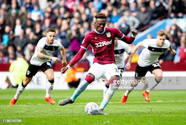 Tammy Abraham of Aston Villa scores for Aston Villa during the Sky Bet Championship match between Aston Villa and Bristol City at Villa Park on April...