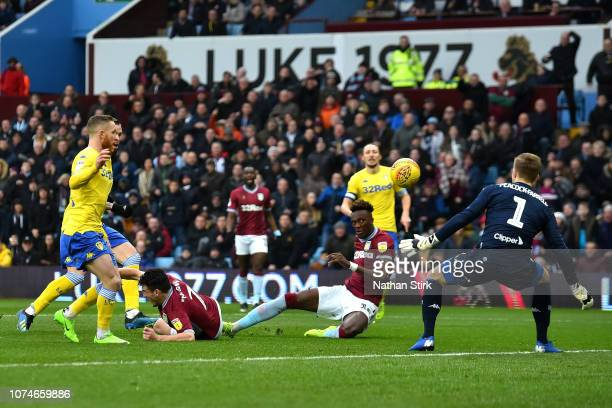 Tammy Abraham of Aston Villa scores his sides first goal during the Sky Bet Championship match between Aston Villa and Leeds United at Villa Park on...