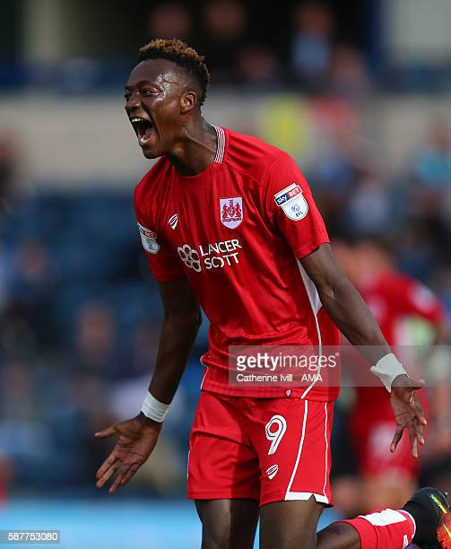 Tammy Abraham of Bristol City celebrates after scoring to make it 01 during the EFL Cup match between Wycombe Wanderers and Bristol City at Adams...