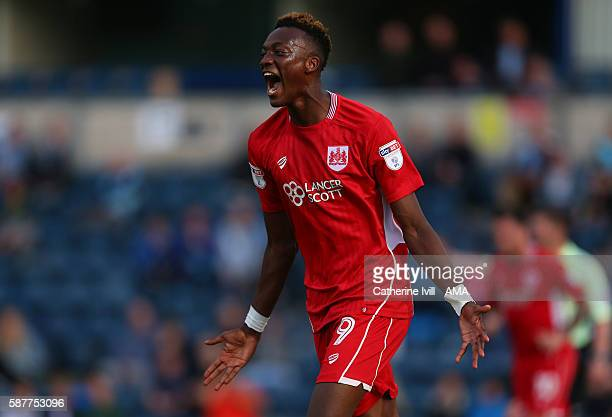 Tammy Abraham of Bristol City celebrates after scoring to make it 0-1 during the EFL Cup match between Wycombe Wanderers and Bristol City at Adams...