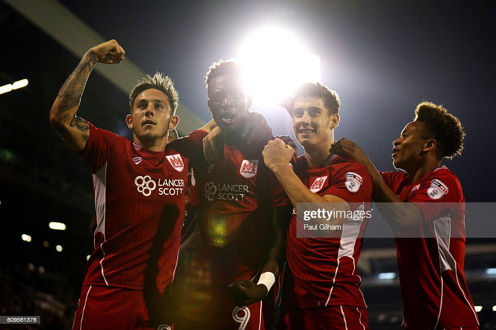 Tammy Abraham of Bristol City celebrates scoring his sides second goal during the EFL Cup Third Round match between Fulham and Bristol City at Craven Cottage on September 21, 2016 in London, England.