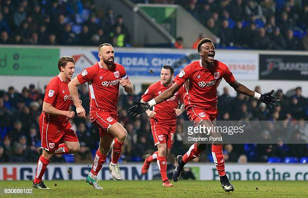 Tammy Abraham of Bristol City celebrates scoring to level the match 11 during the Sky Bet Championship match between Ipswich Town and Bristol City at...