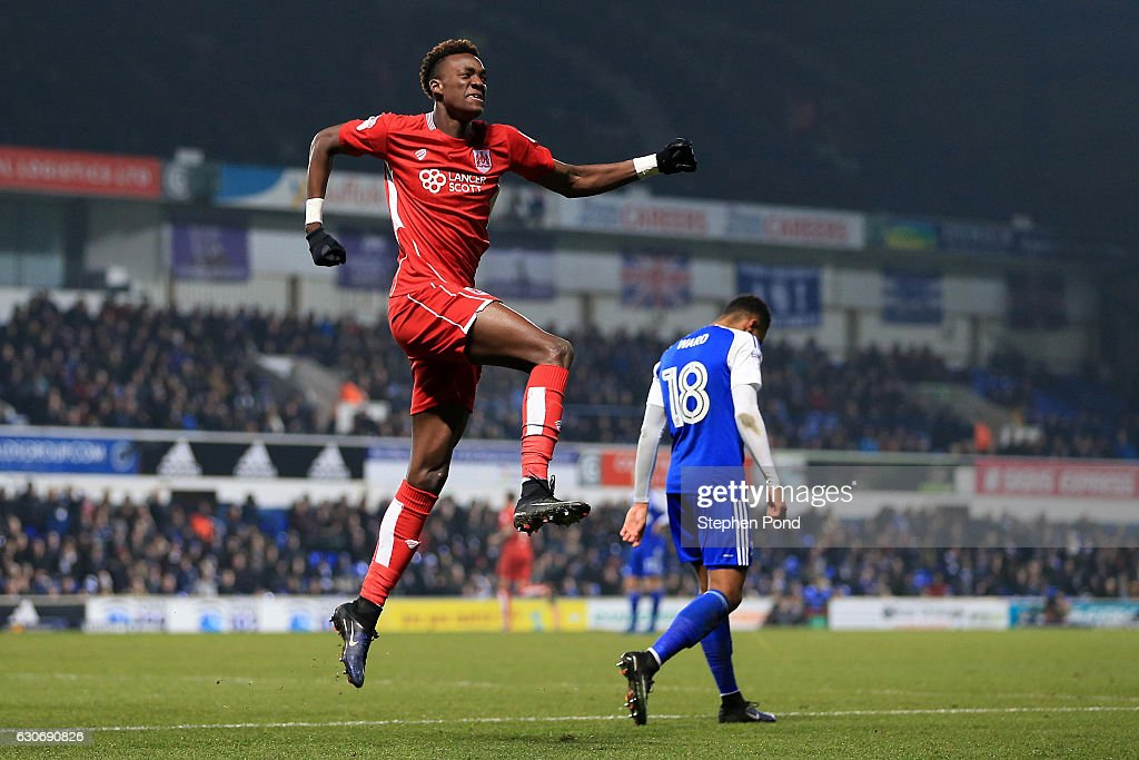 Tammy Abraham of Bristol City celebrates scoring to level the match 1-1 during the Sky Bet Championship match between Ipswich Town and Bristol City at Portman Road on December 30, 2016 in Ipswich, England.