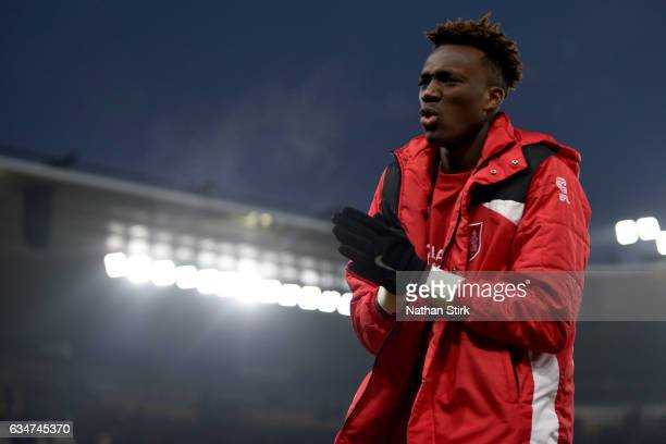 Tammy Abraham of Bristol City looks on after the Sky Bet Championship match between Derby County and Bristol City at the iPro Stadium on February 11...