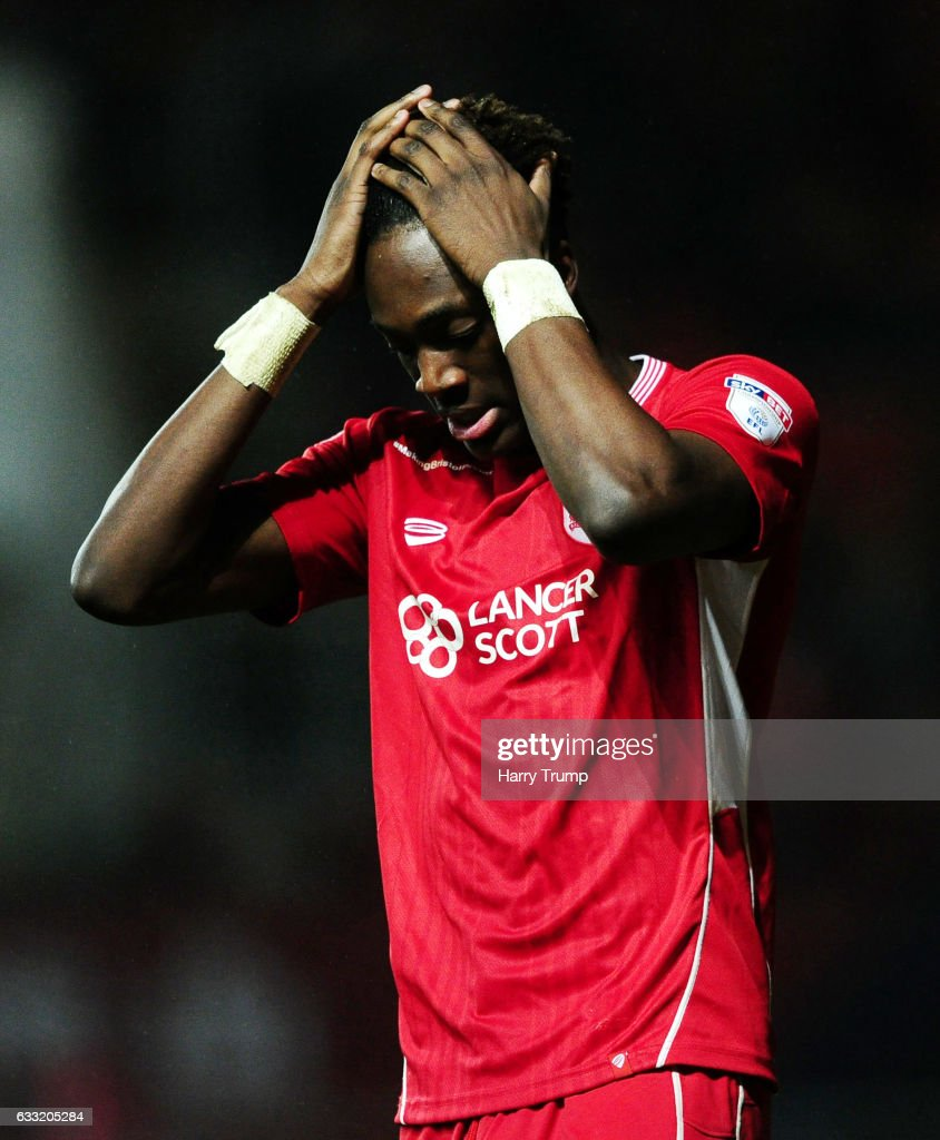Tammy Abraham of Bristol City reacts during the Sky Bet Championship match between Bristol City and Sheffield Wednesday at Ashton Gate on January 31, 2017 in Bristol, England.
