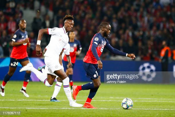 Tammy ABRAHAM of Chelsea and Jonathan IKONE of Lille during the UEFA Champions League match between Lille and Chelsea at Stade Pierre Mauroy on...