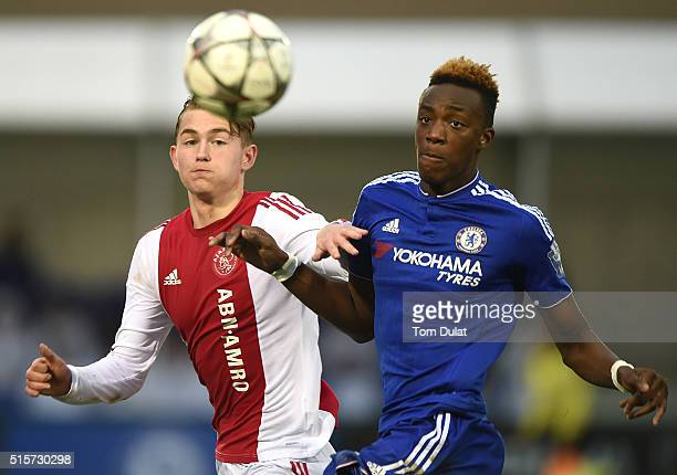 Tammy Abraham of Chelsea and Matthijs de Ligt of Ajax in action during the UEFA Youth League quarter final match between Chelsea and Ajax at Chelsea...