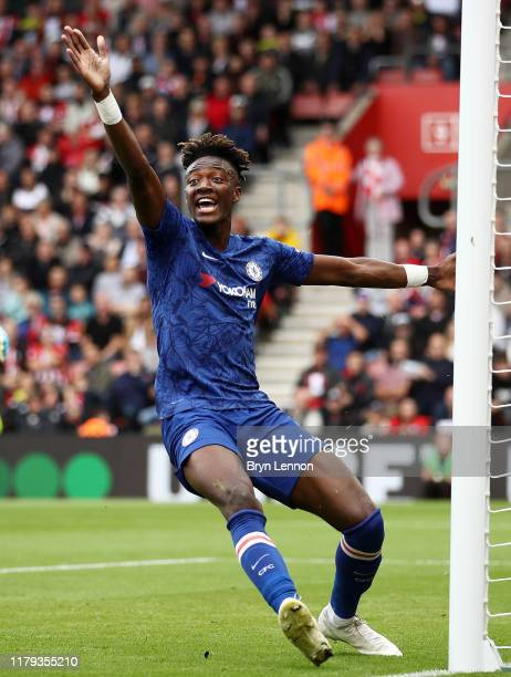 Tammy Abraham of Chelsea appeals to the referee before being awarded his first goal during the Premier League match between Southampton FC and...