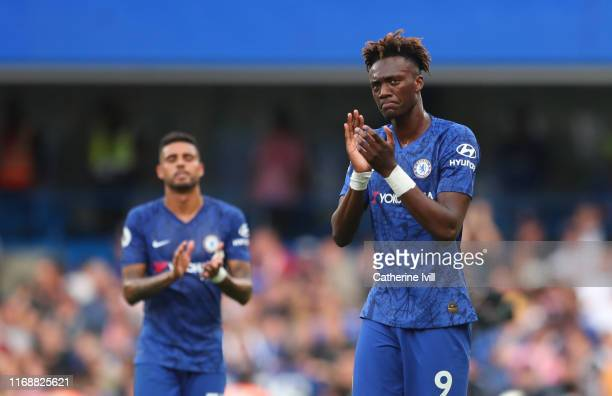 Tammy Abraham of Chelsea applauds after the Premier League match between Chelsea FC and Leicester City at Stamford Bridge on August 18 2019 in London...