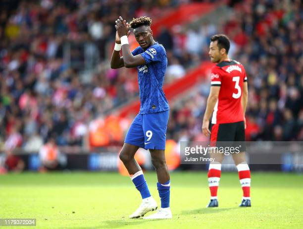 Tammy Abraham of Chelsea applauds fans after the Premier League match between Southampton FC and Chelsea FC at St Mary's Stadium on October 06 2019...