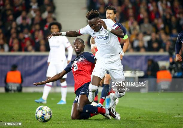 Tammy Abraham of Chelsea Boubakary Soumare of Lille during the UEFA Champions League group H match between Lille OSC and Chelsea FC at Stade Pierre...