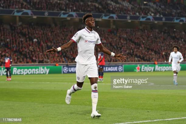 Tammy Abraham of Chelsea celebrates after he scores his sides first goal during the UEFA Champions League group H match between Lille OSC and Chelsea...