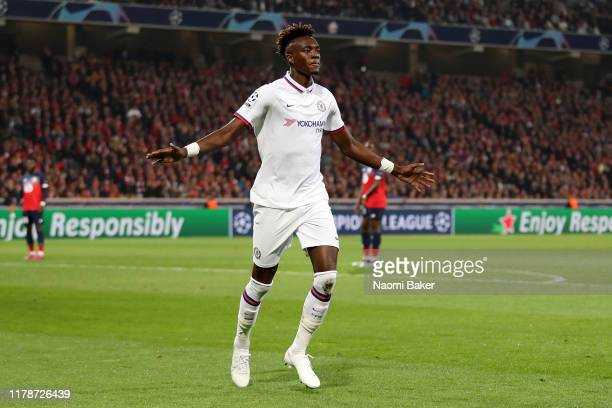 Tammy Abraham of Chelsea celebrates after he scores his teams first goal during the UEFA Champions League group H match between Lille OSC and Chelsea...