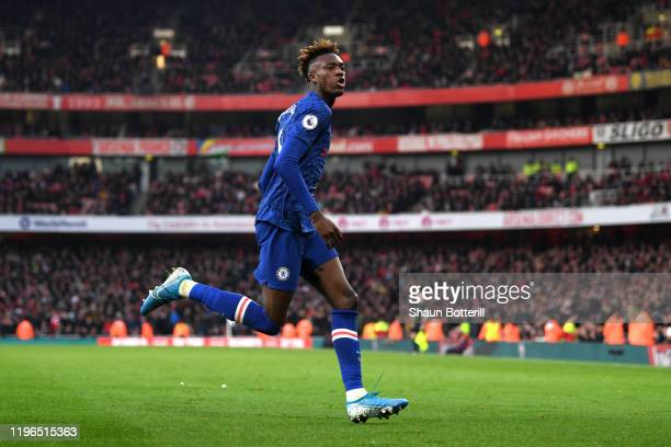Tammy Abraham of Chelsea celebrates after scoring his sides second goal during the Premier League match between Arsenal FC and Chelsea FC at Emirates...