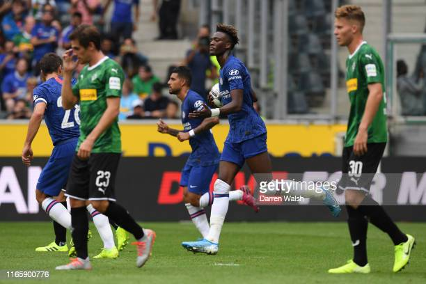 Tammy Abraham of Chelsea celebrates after scoring his team's first goal during the pre-season friendly match between Borussia Moenchengladbach and FC...