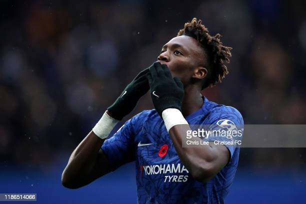 Tammy Abraham of Chelsea celebrates after scoring his team's first goal during the Premier League match between Chelsea FC and Crystal Palace at...