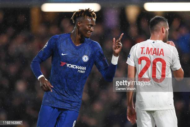 Tammy Abraham of Chelsea celebrates after scoring his team's first goal during the UEFA Champions League group H match between Chelsea FC and Lille...