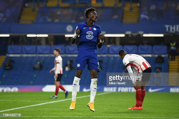 Tammy Abraham of Chelsea celebrates after scoring his team's first goal during the Premier League match between Chelsea and Sheffield United at...