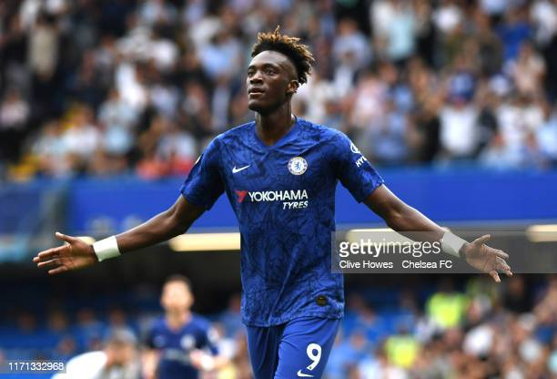 Tammy Abraham of Chelsea celebrates after scoring his team's second goal during the Premier League match between Chelsea FC and Sheffield United at...