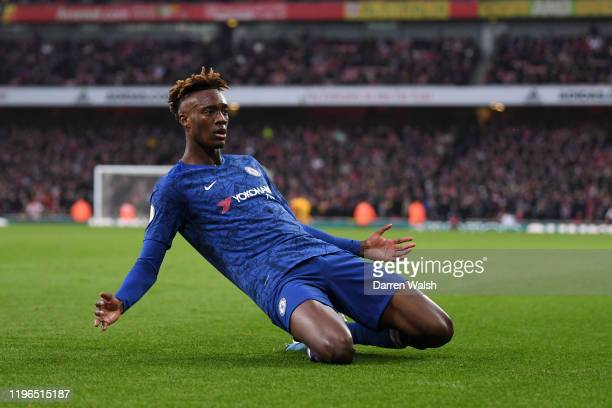 Tammy Abraham of Chelsea celebrates after scoring his team's second goal during the Premier League match between Arsenal FC and Chelsea FC at...