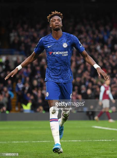 Tammy Abraham of Chelsea celebrates after scoring his team's second goal during the Premier League match between Chelsea FC and Burnley FC at...