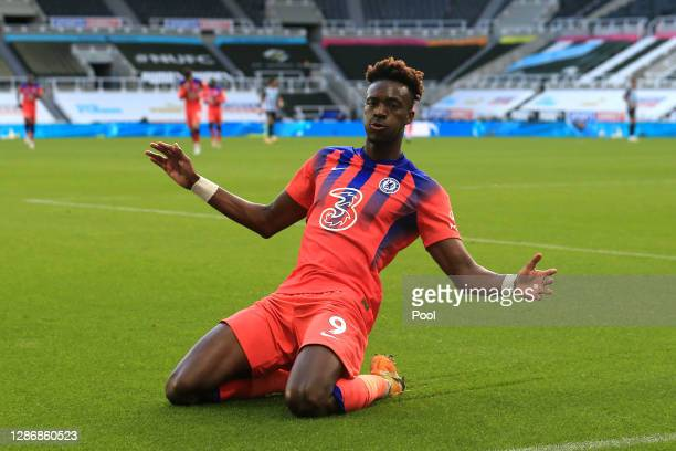 Tammy Abraham of Chelsea celebrates after scoring his team's second goal during the Premier League match between Newcastle United and Chelsea at St....