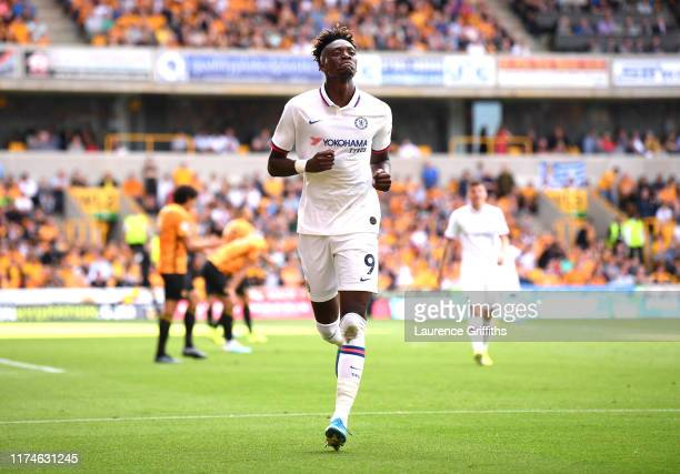 Tammy Abraham of Chelsea celebrates after scoring his team's third goal during the Premier League match between Wolverhampton Wanderers and Chelsea...