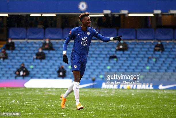 Tammy Abraham of Chelsea celebrates after scoring their sides first goal during The Emirates FA Cup Fourth Round match between Chelsea and Luton Town...