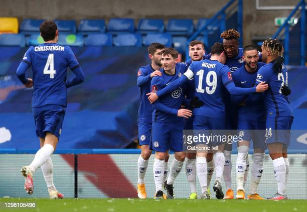 Tammy Abraham of Chelsea celebrates after scoring their sides first goal with team mates Christian Pulisic, Billy Gilmour, Timo Werner, Mason Mount,...