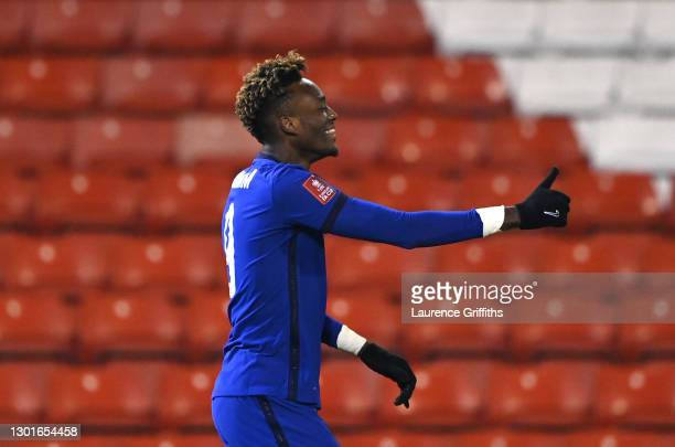 Tammy Abraham of Chelsea celebrates after scoring their sides first goal during The Emirates FA Cup Fifth Round match between Barnsley and Chelsea at...