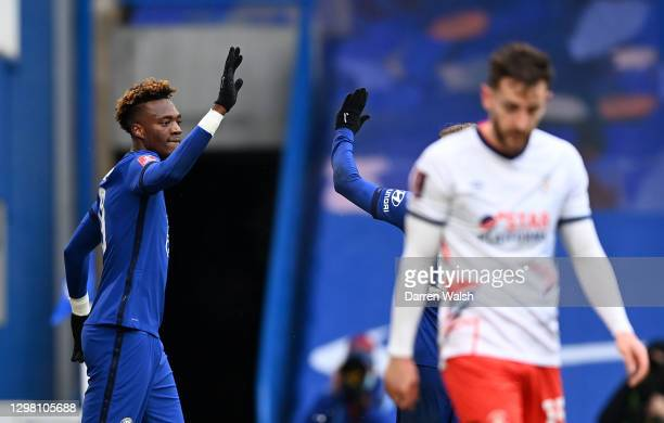 Tammy Abraham of Chelsea celebrates after scoring their sides second goal during The Emirates FA Cup Fourth Round match between Chelsea and Luton...