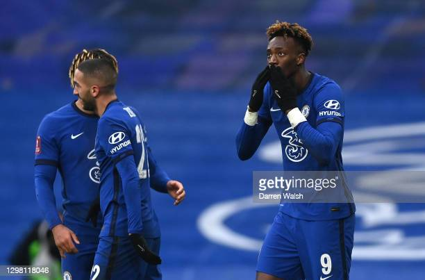 Tammy Abraham of Chelsea celebrates after scoring their sides third goal for their hat trick during The Emirates FA Cup Fourth Round match between...