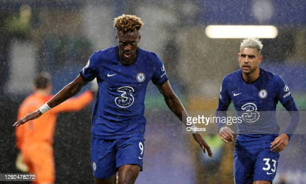 Tammy Abraham of Chelsea celebrates after scoring their team's second goal during the Premier League match between Chelsea and West Ham United at...