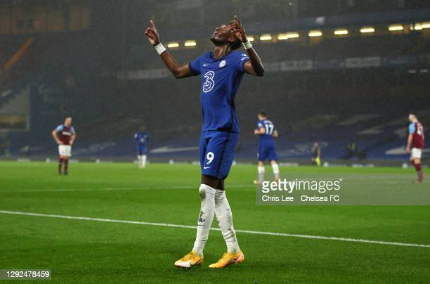 Tammy Abraham of Chelsea celebrates after scoring their team's third goal during the Premier League match between Chelsea and West Ham United at...