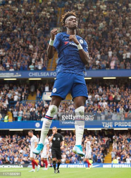 Tammy Abraham of Chelsea celebrates his second goal during the Premier League match between Chelsea FC and Sheffield United at Stamford Bridge on...