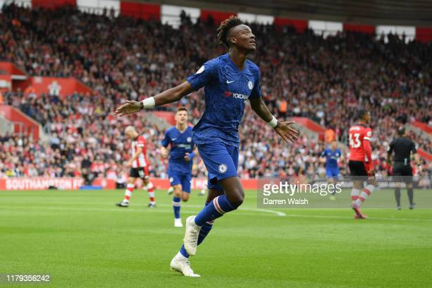 Tammy Abraham of Chelsea celebrates scoring his teams first goal during the Premier League match between Southampton FC and Chelsea FC at St Mary's...