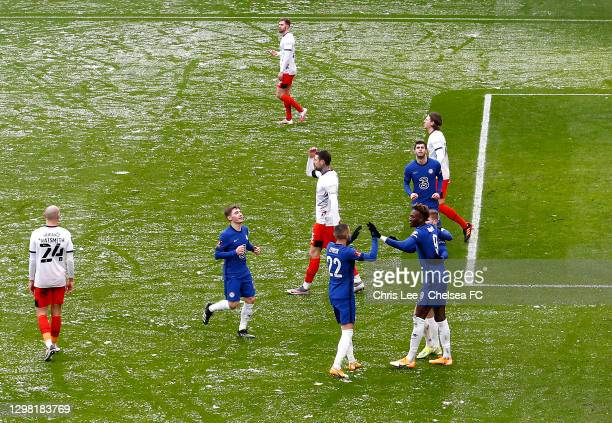 Tammy Abraham of Chelsea celebrates scoring their first goal during The Emirates FA Cup Fourth Round match between Chelsea and Luton Town at Stamford...