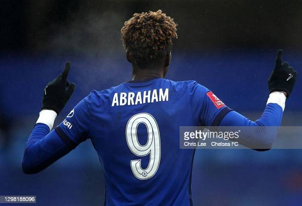 Tammy Abraham of Chelsea celebrates scoring their third goal during The Emirates FA Cup Fourth Round match between Chelsea and Luton Town at Stamford...
