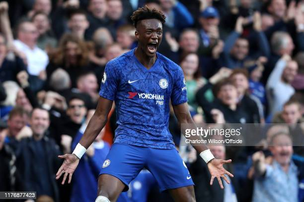 Tammy Abraham of Chelsea celebrates their goal during the Premier League match between Chelsea FC and Newcastle United at Stamford Bridge on October...
