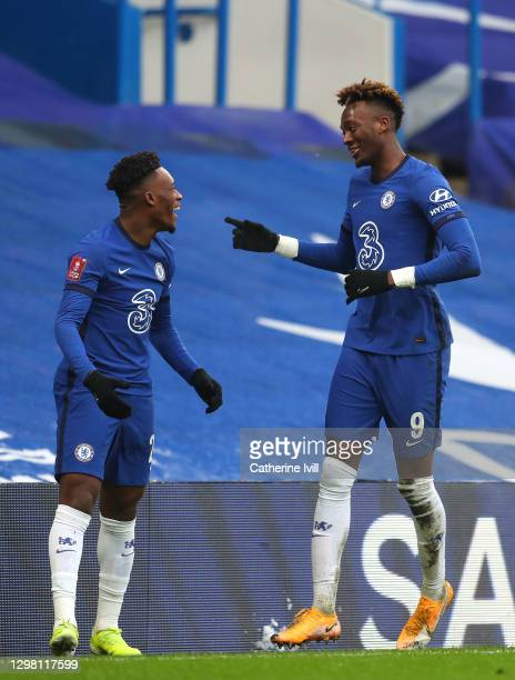 Tammy Abraham of Chelsea celebrates with team mate Callum Hudson-Odoi after scoring their side's third goal for their hat trick during The Emirates...