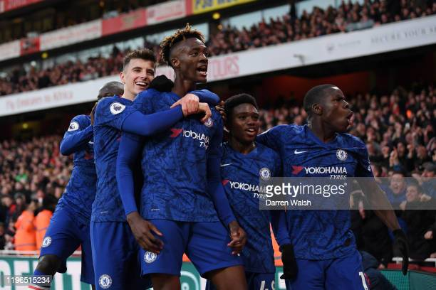 Tammy Abraham of Chelsea celebrates with teammates Mason Mount Tariq Lamptey and Kurt Zouma of Chelsea after scoring his team's second goal during...