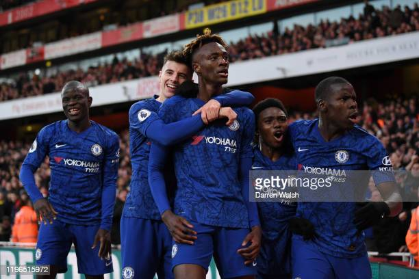 Tammy Abraham of Chelsea celebrates with teammates N'Golo Kante Mason Mount Tariq Lamptey and Kurt Zouma of Chelsea after scoring his team's second...