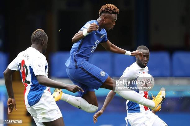 Tammy Abraham of Chelsea controls the ball during the Premier League match between Chelsea and Crystal Palace at Stamford Bridge on October 3 2020 in...
